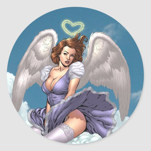 Ángel trigueno modelo con halo del corazón por el pegatina redonda