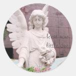 Ángel triste etiqueta redonda