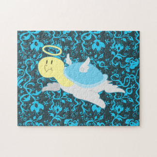 Angel Turtle Floral Pattern Jigsaw Puzzle