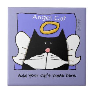 Angel Tuxedo Cat Personalize Ceramic Tile