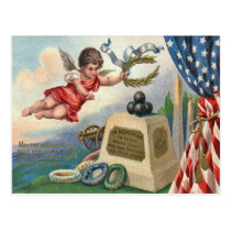 Angel US Flag Obelisk Cannon Ball Monument Postcard