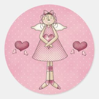 Angel Valentine's Day Stickers Round Sticker