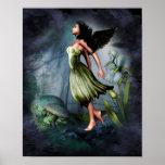 Ángel verde del jardín posters