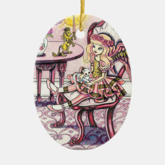"""Angel """"Victoria"""" Double-Sided Oval Ceramic Christmas Ornament"""