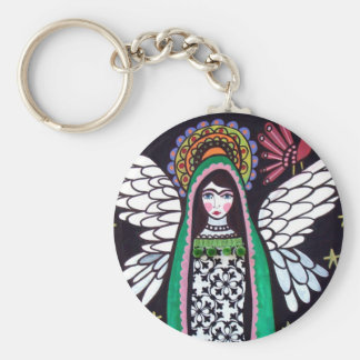 Angel Virgin of Guadalupe Art by Heather Galler Keychains