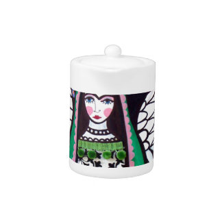 Angel Virgin of Guadalupe Art by Heather Galler Teapot