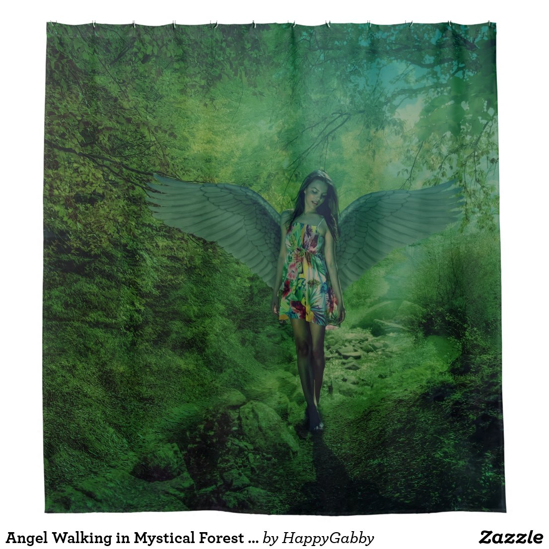 Angel Walking in Mystical Forest Shower Curtain
