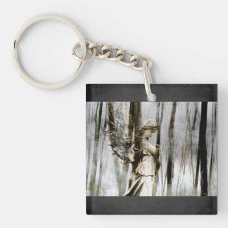 Angel Walks through Winter Keychain