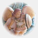 Angel warrior sticker round sticker
