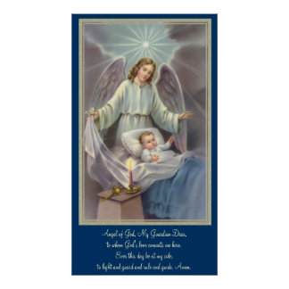 Angel watching over a child poster