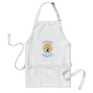 Angel Watching Over Me Black Ribbon Adult Apron