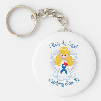 Angel Watching Over Me Blue Ribbon Keychain