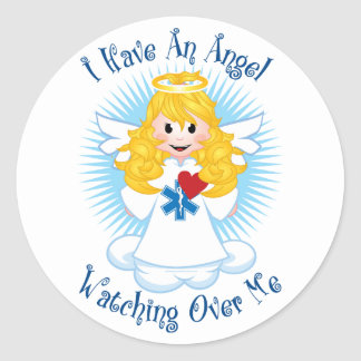 Angel Watching Over Me EMT Classic Round Sticker