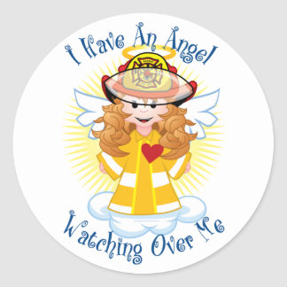 Angel Watching Over Me Firefighter Classic Round Sticker