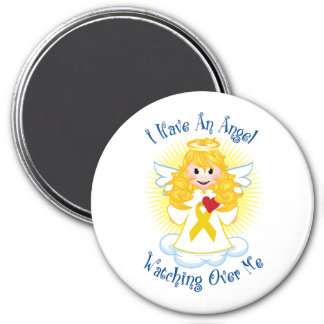 Angel Watching Over Me Gold Ribbon 3 Inch Round Magnet