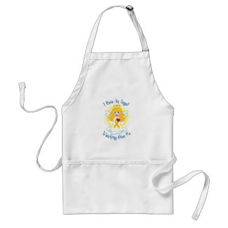 Angel Watching Over Me Gold Ribbon Adult Apron