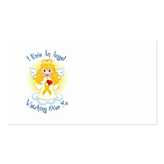Angel Watching Over Me Gold Ribbon Business Card