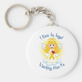 Angel Watching Over Me Gold Ribbon Keychain