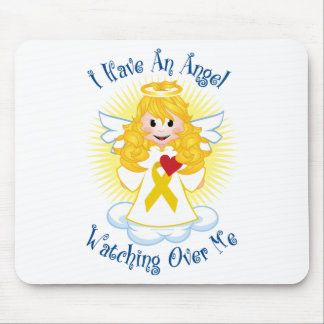 Angel Watching Over Me Gold Ribbon Mouse Pad