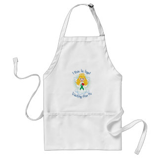 Angel Watching Over Me Green Ribbon Adult Apron