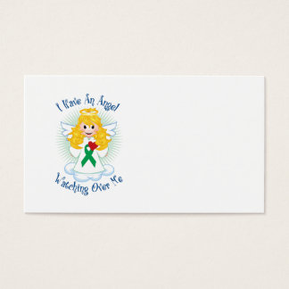 Angel Watching Over Me Green Ribbon Business Card