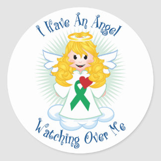 Angel Watching Over Me Green Ribbon Classic Round Sticker
