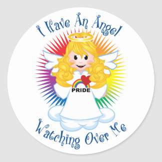 Angel Watching Over Me LGBTQ Classic Round Sticker