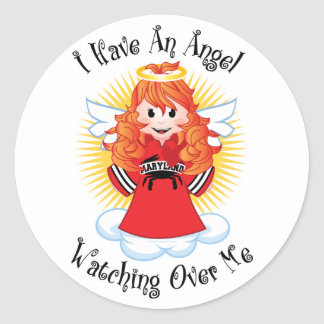 Angel Watching Over Me Maryland Classic Round Sticker