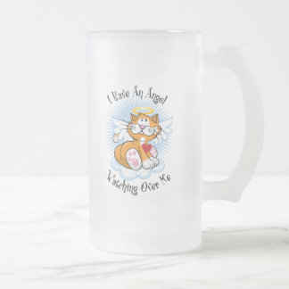 Angel Watching Over Me Orange Cat 16 Oz Frosted Glass Beer Mug