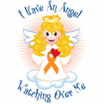 Angel Watching Over Me Orange Ribbon Cut Out