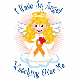 Angel Watching Over Me Orange Ribbon Cutout