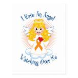 Angel Watching Over Me Orange Ribbon Postcard