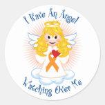 Angel Watching Over Me Orange Ribbon Round Stickers