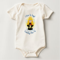 Angel Watching Over Me Pale Yellow Ribbon Baby Bodysuit