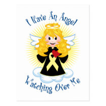 Angel Watching Over Me Pale Yellow Ribbon Postcard