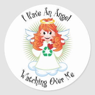 Angel Watching Over Me Recycling Classic Round Sticker
