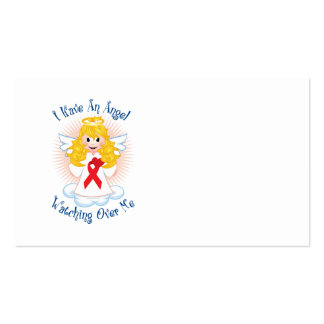 Angel Watching Over Me Red Ribbon Business Card Template