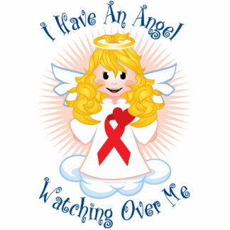 Angel Watching Over Me Red Ribbon Statuette