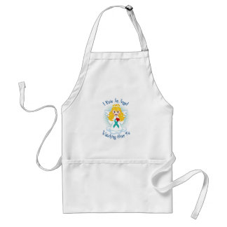 Angel Watching Over Me Teal Ribbon Adult Apron