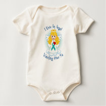 Angel Watching Over Me Teal Ribbon Baby Bodysuit