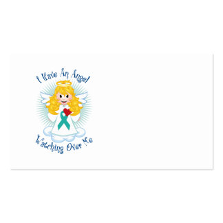Angel Watching Over Me Teal Ribbon Business Card