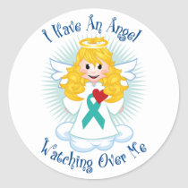 Angel Watching Over Me Teal Ribbon Classic Round Sticker