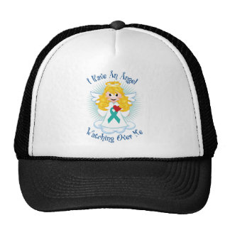 Angel Watching Over Me Teal Ribbon Trucker Hats