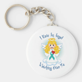 Angel Watching Over Me Teal Ribbon Keychain