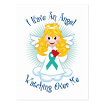 Angel Watching Over Me Teal Ribbon Postcard