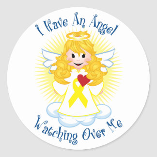 Angel Watching Over Me Yellow Ribbon Classic Round Sticker