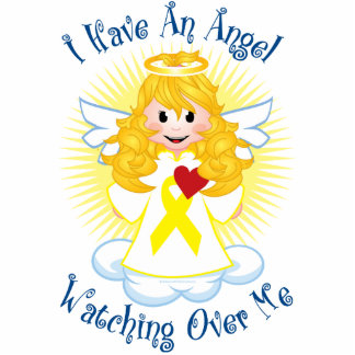 Angel Watching Over Me Yellow Ribbon Cutout