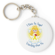 Angel Watching Over Me Yellow Ribbon Keychain