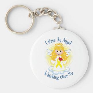 Angel Watching Over Me Yellow Ribbon Keychain