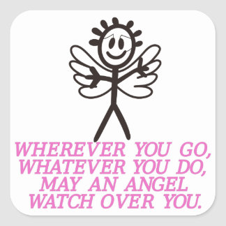 Angel Watching Over Square Sticker